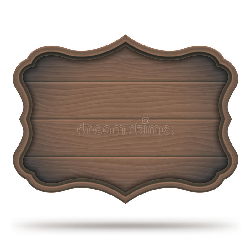 Vintage Wooden Signboard. Brown vintage wooden signboard, plate or plank, isolated on white background vector illustration