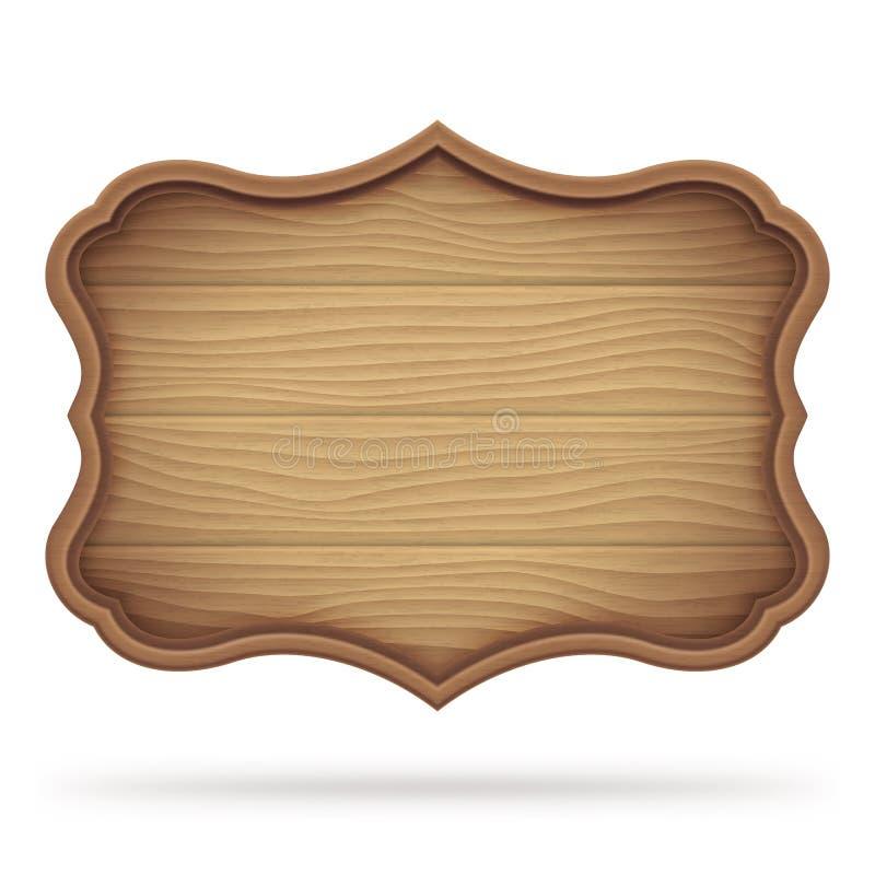 Vintage Wooden Signboard. Brown vintage wooden signboard, plate or plank, on white background royalty free illustration