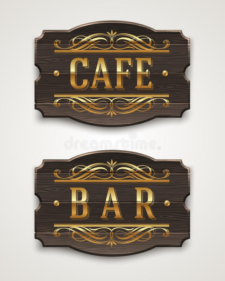 Download Vintage Wooden Signs For Cafe And Bar Stock Vector - Image: 31422952