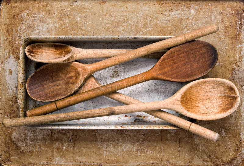 Vintage wooden spatula stock images