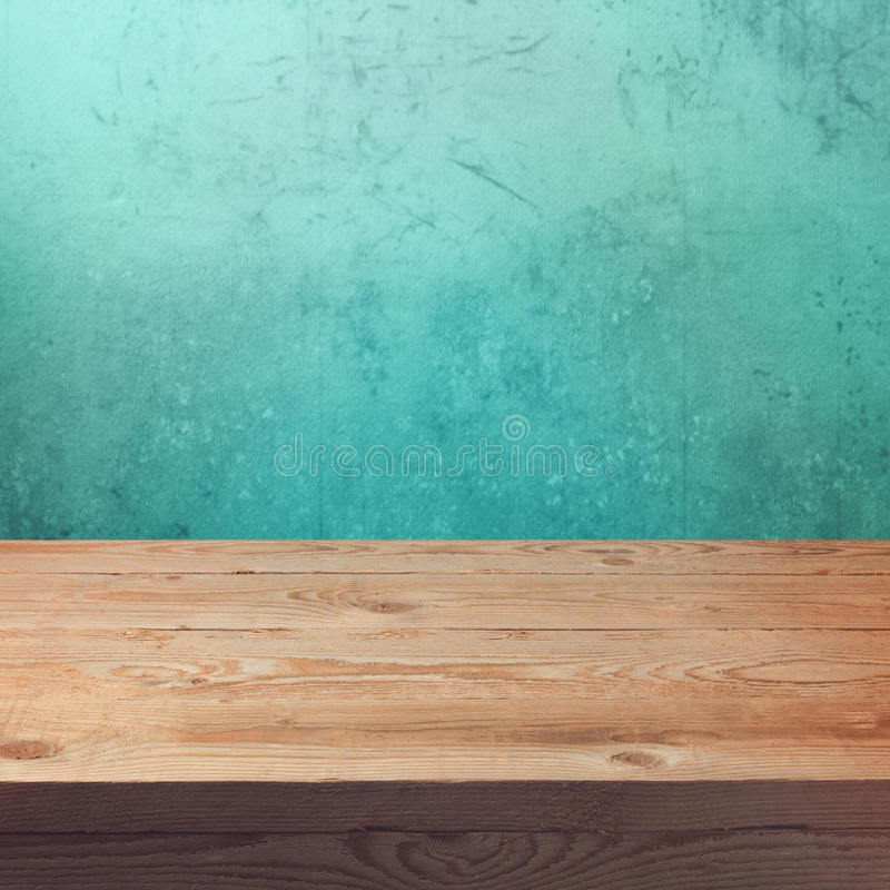 Wood Table Top On Blurred Beach Background Vintage Tone: Wooden Table Mock Up Template Background For Product