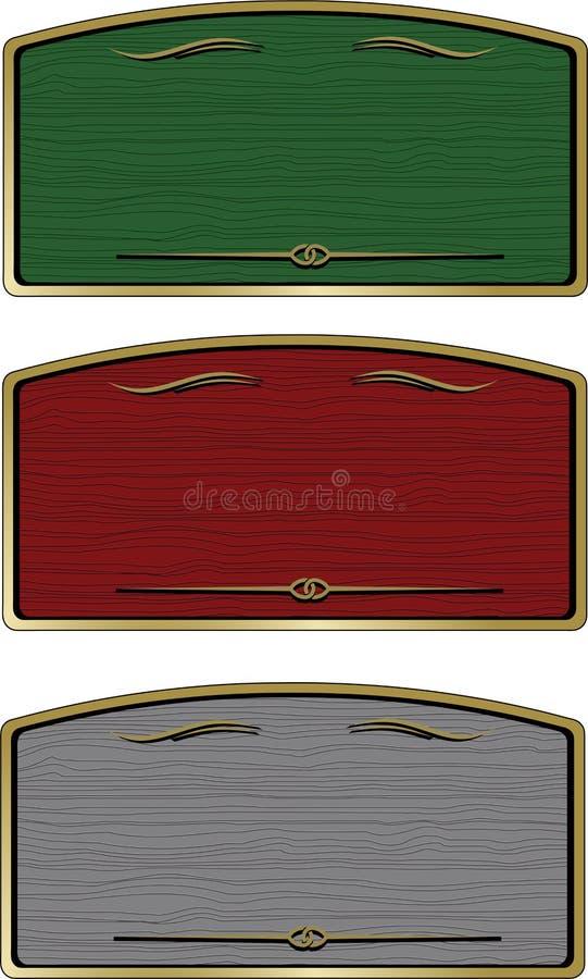 Vintage wooden texture frame for logo. Sign frame wood grain vector illustration