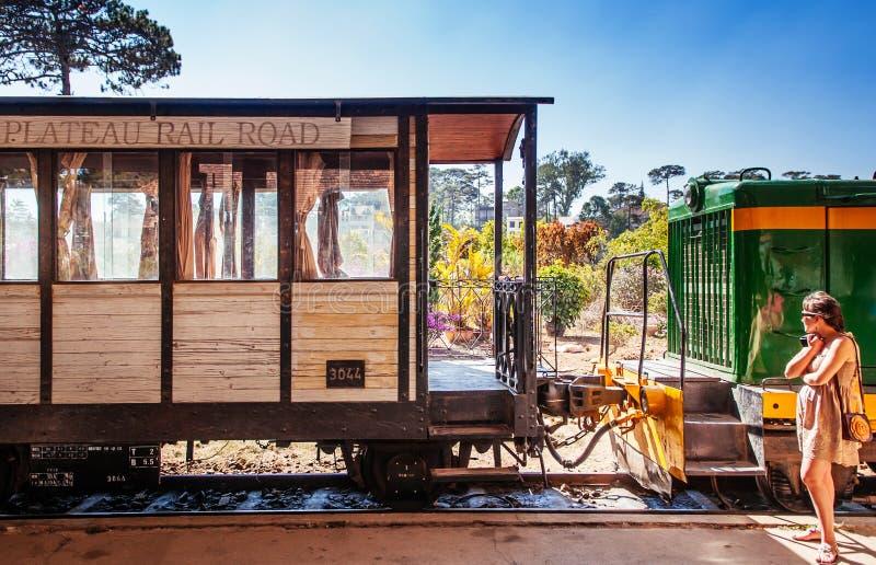Vintage wooden train at Old Dalat Train Station platform - Vietnam royalty free stock photography