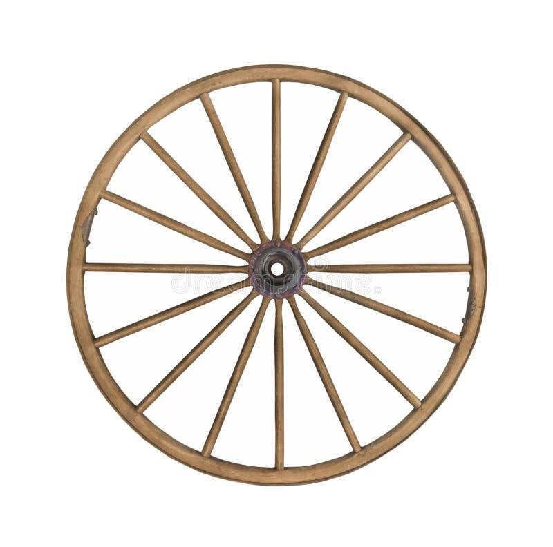 Vintage wooden wagon wheel isolated. stock photo
