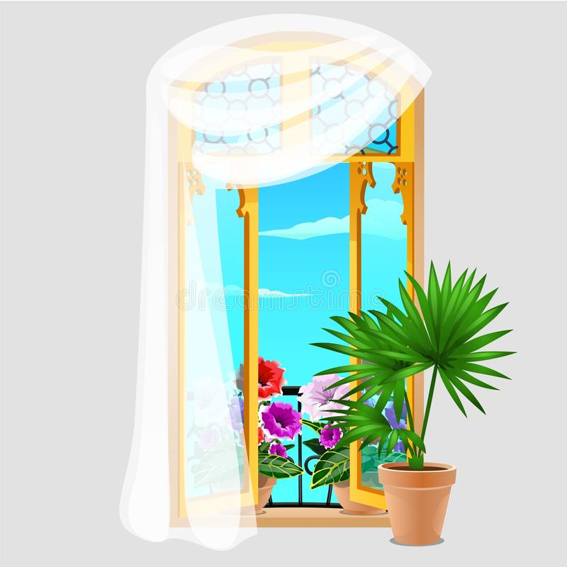 Vintage wooden window with curtains and potted flowers on the windowsill isolated on grey background. Vector cartoon royalty free illustration