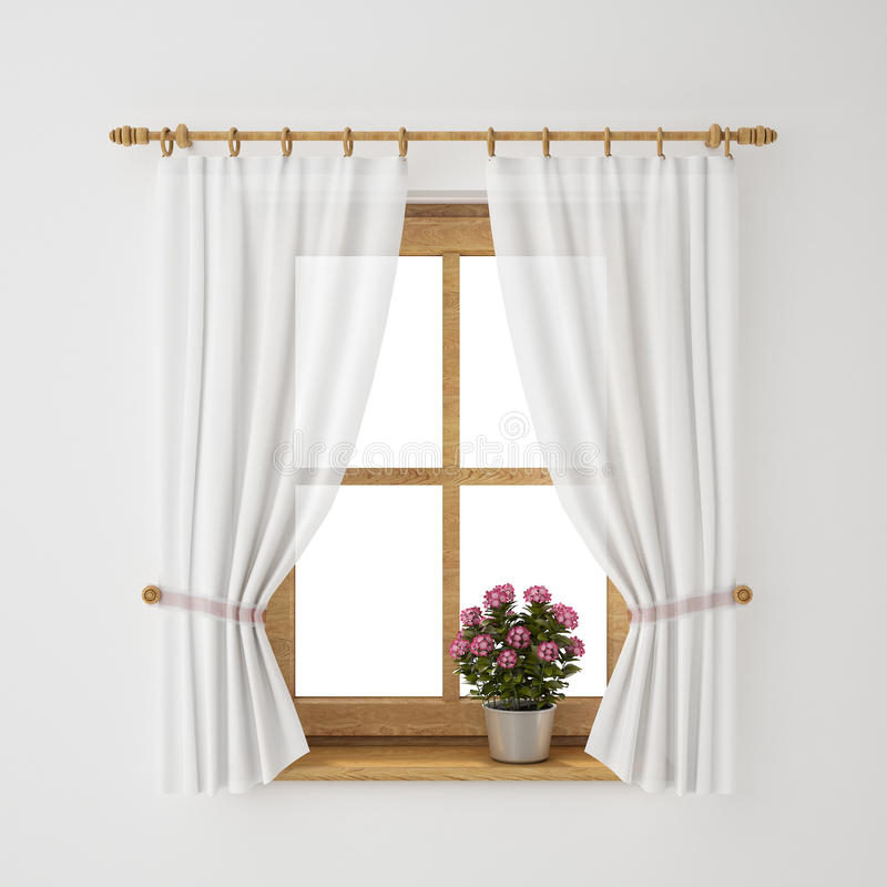 Vintage wooden window frame with curtain and flowerpot. Interior design stock illustration