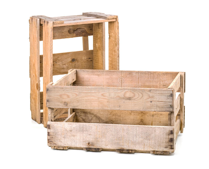 Vintage wooden wine crates. On a white background stock photos