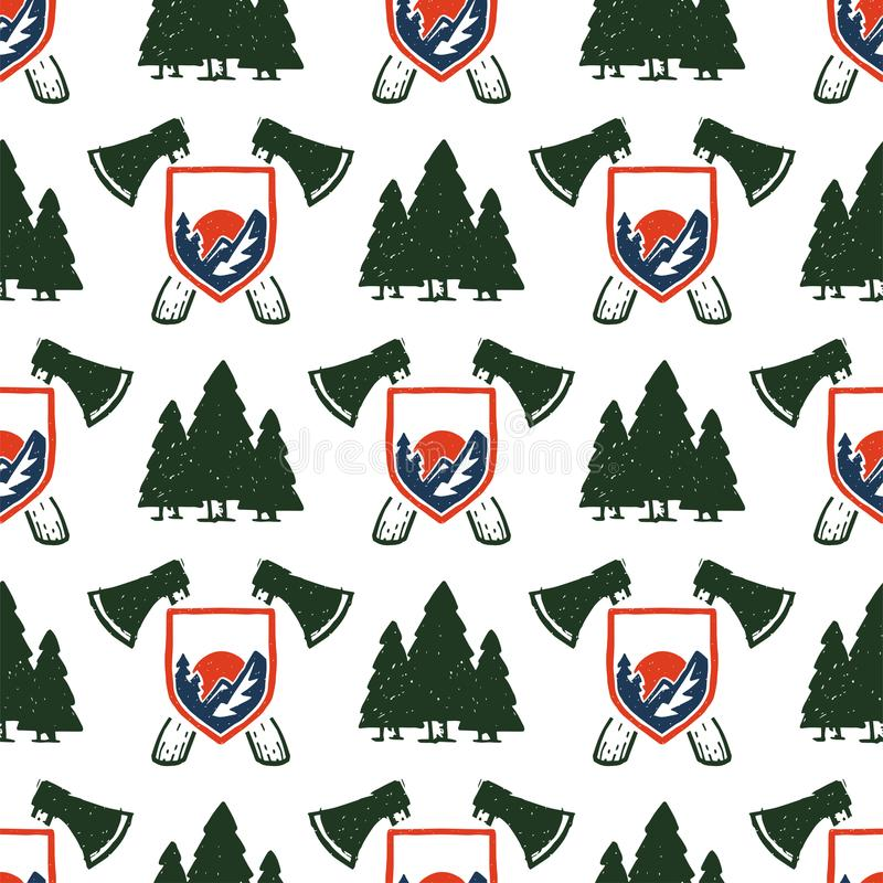 Vintage woods camp seamless pattern background travel hand drawn emblems nature mountain camp outdoor vector royalty free illustration