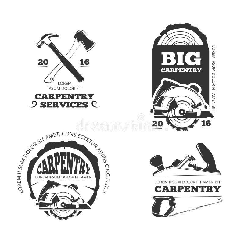 Vintage woodwork, sawmill vector labels, logos, badges and emblems stock illustration