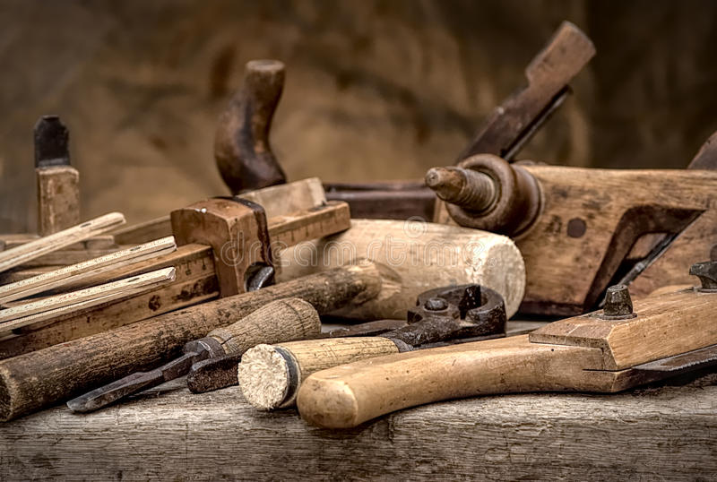 Vintage woodworking tools, stylized hdr image royalty free stock photo