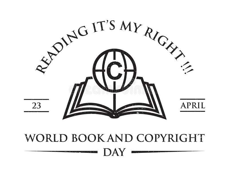 Vintage word world book and copyright day theme stock illustration