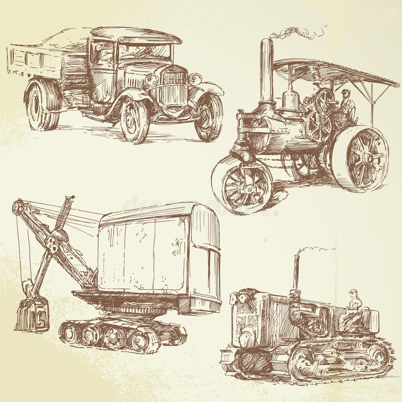 Download Vintage work vehicles stock vector. Illustration of machines - 24618720