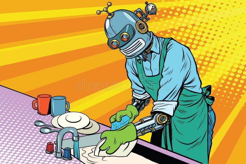 Vintage worker robot washes dishes royalty free illustration