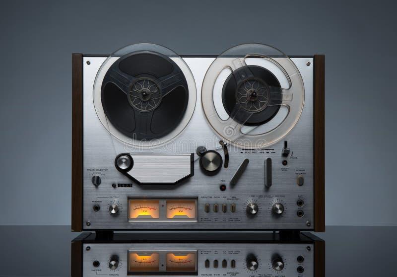 Vintage working analog recorder reel to reel stock photos
