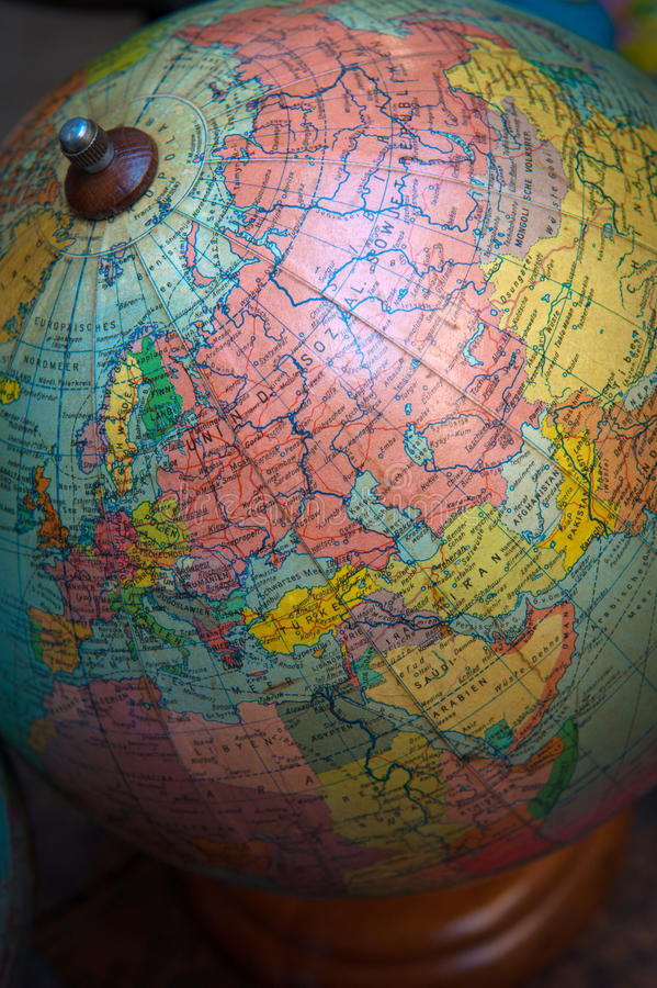 Vintage world globe, URSS and Middle East stock images