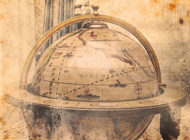 Vintage World Map Stock Photo
