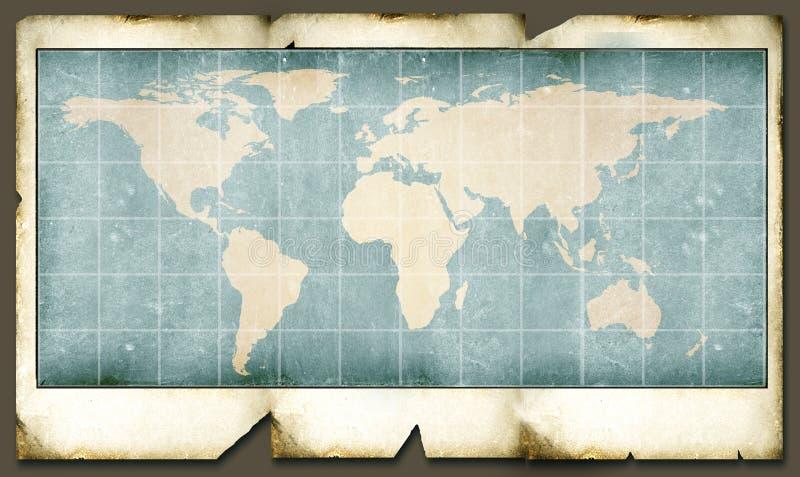 Vintage world map. 2D art stock illustration
