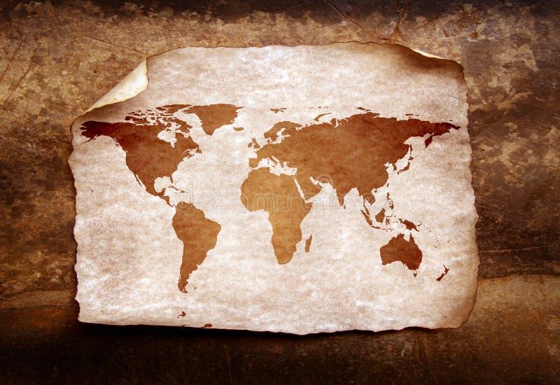 Vintage world map. 2D digital art royalty free illustration