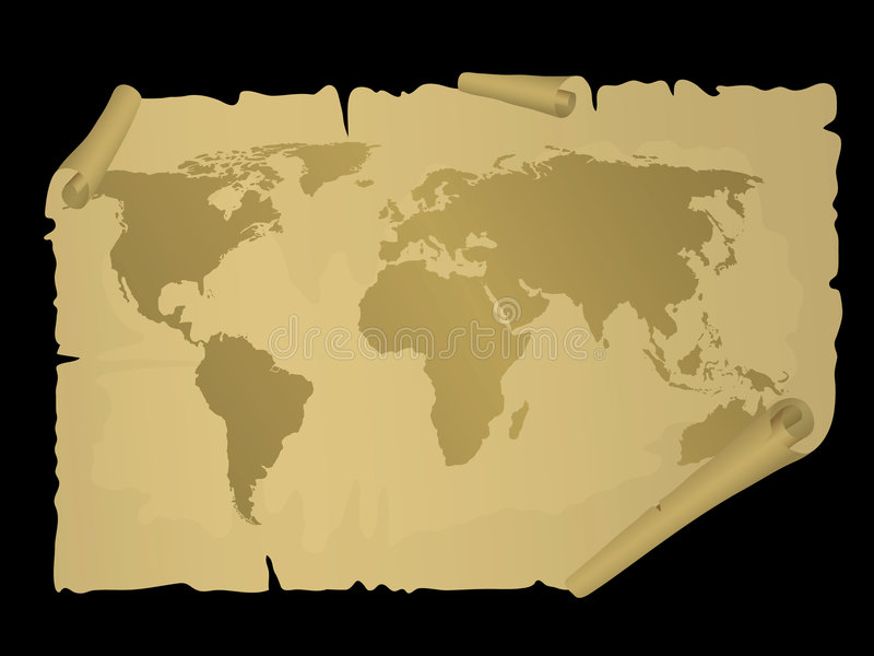 Vintage world map royalty free illustration