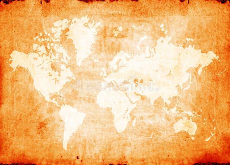 Vintage world map. 2D art vector illustration