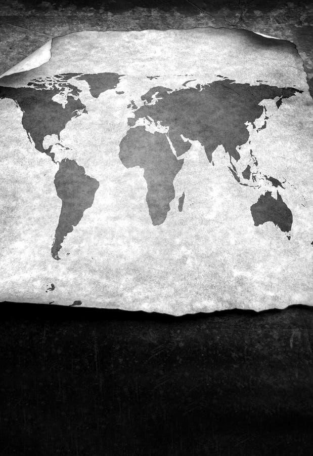 Vintage world map. 2D digital art stock illustration