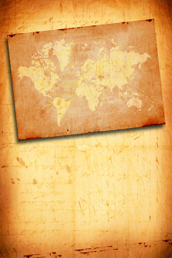 Vintage world map. 2D art royalty free illustration