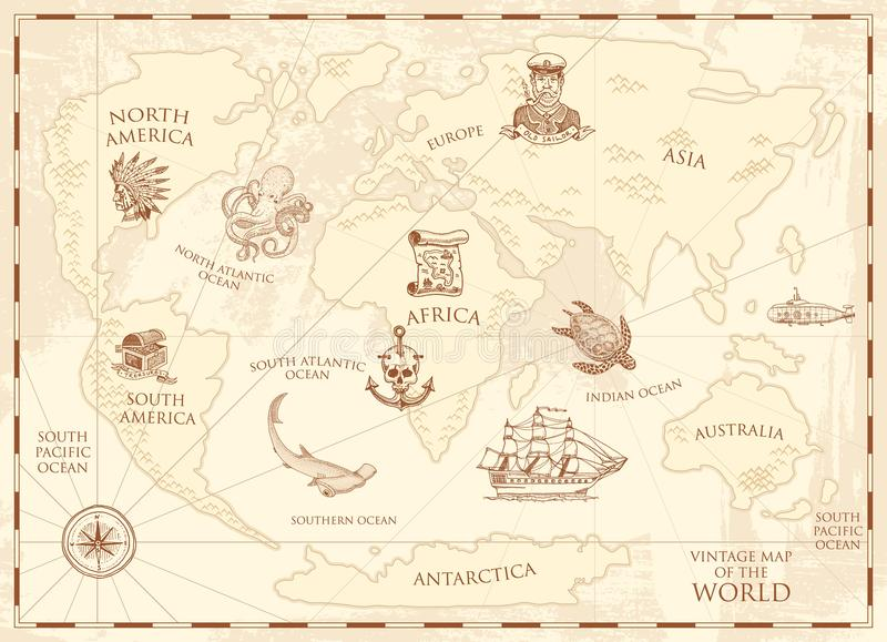 Vintage world map with compass and mountains sea creatures in the download vintage world map with compass and mountains sea creatures in the ocean aged gumiabroncs Choice Image