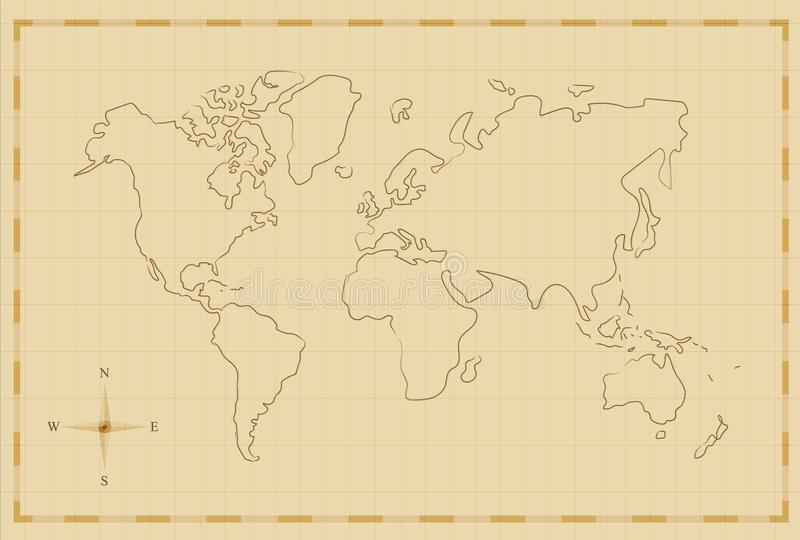 Vintage world map old hand drawn illustration art stock vector download vintage world map old hand drawn illustration art stock vector illustration of continent gumiabroncs Gallery