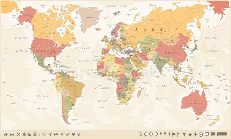 Vintage world map and markers vector illustration stock download vintage world map and markers vector illustration stock illustration illustration of country gumiabroncs Gallery