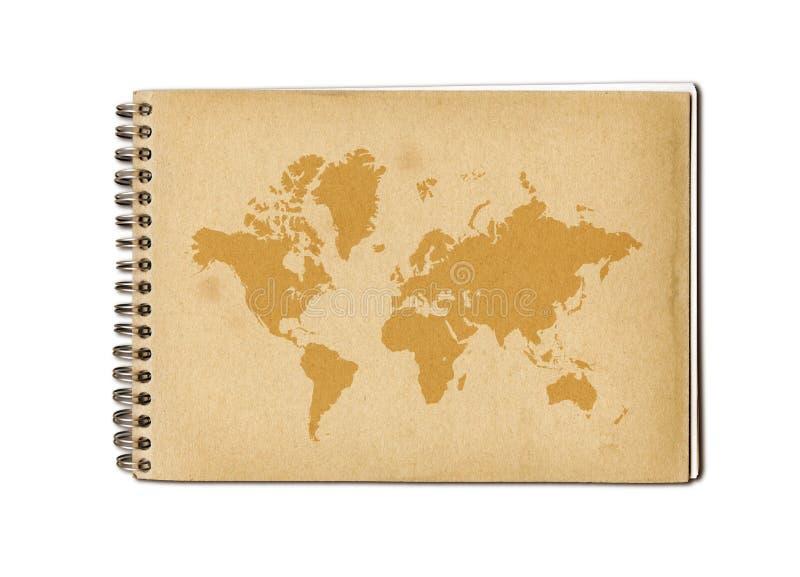 Vintage world map on an old notebook vector illustration