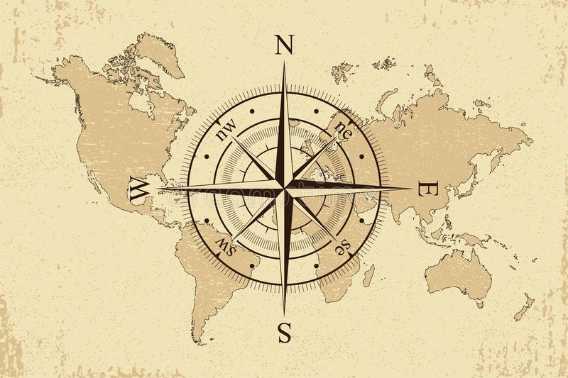 Vintage world map with retro compass background old paper map and download vintage world map with retro compass background old paper map and wind rose gumiabroncs Images
