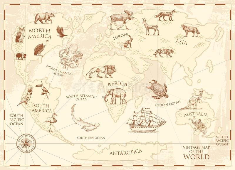 Vintage world map with wild animals and mountains. Sea creatures in the ocean. Old retro parchment. wildlife on earth stock illustration
