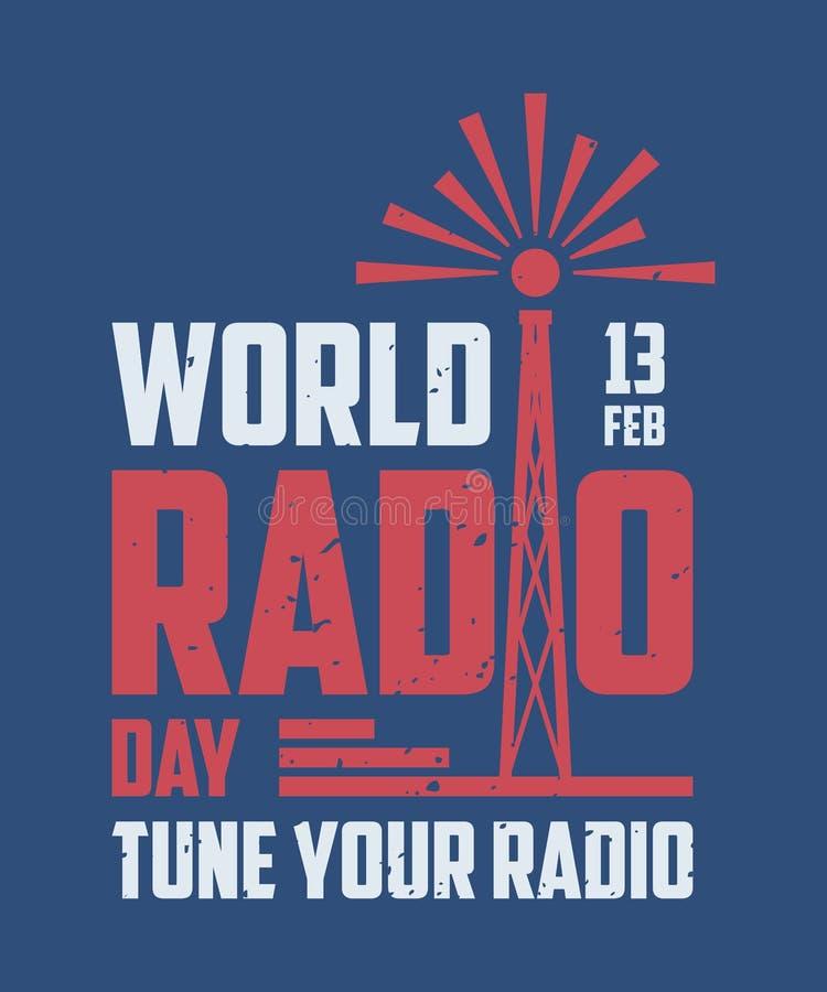 Vintage World Radio Day for element design on the blue background stock illustration