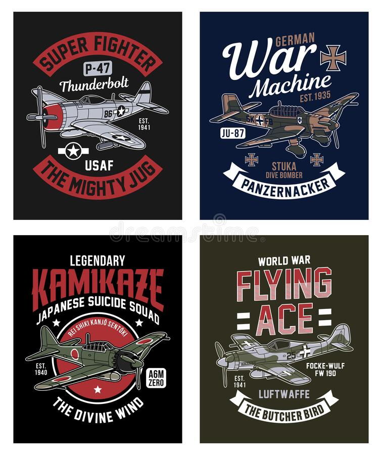 Free Vintage World War 2 Fighter Plane Graphic T-shirt Collection Stock Photo - 174264930