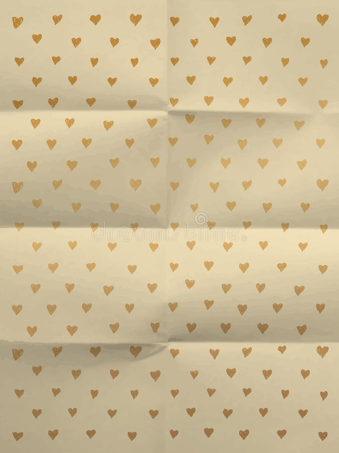Vintage wrapping paper with hearts stock photo