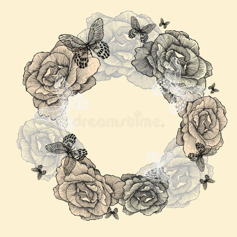 Download Vintage Wreath Of Roses, Butterflies, Hand-drawing Stock Vector - Image: 35641025
