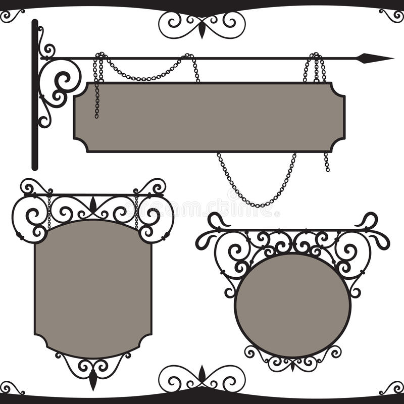 Vintage wrought iron signs. vector illustration