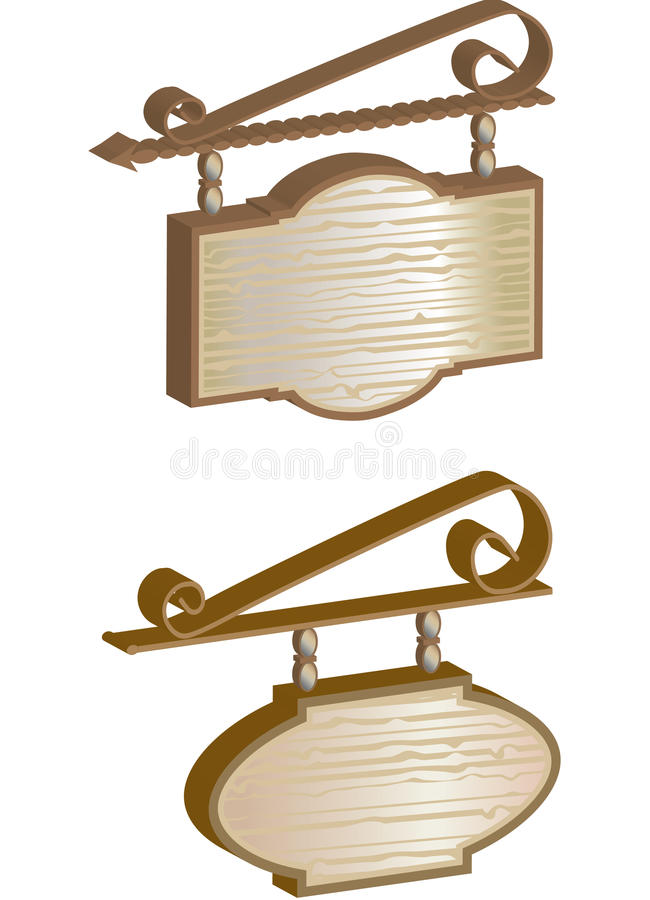 Free Vintage Wrought Wood Hanging Signs Royalty Free Stock Image - 12829846
