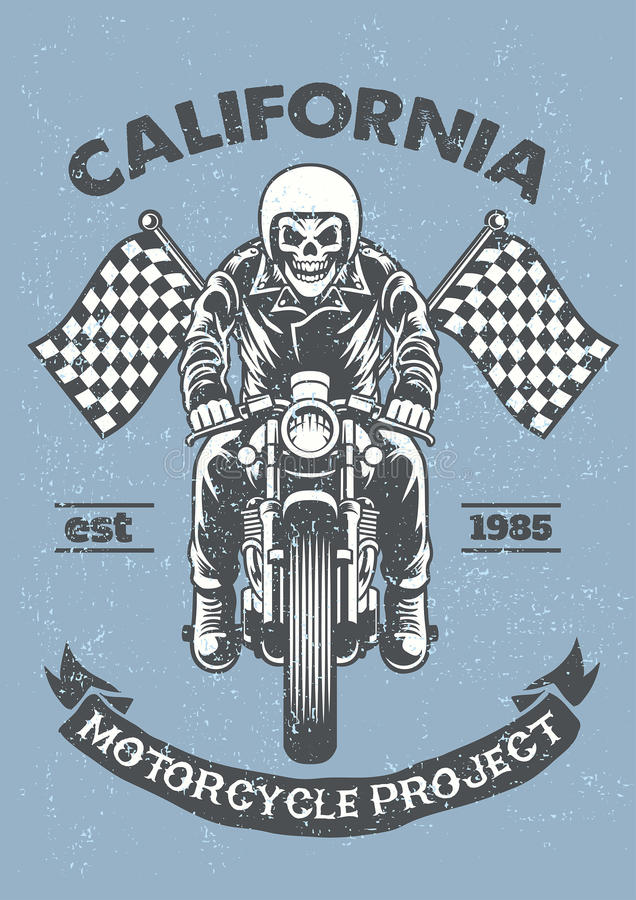 Vintage y cartel texturizado del garaje de la motocicleta stock de ilustración