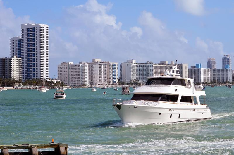Vintage Yacht and SoBe Condo Skyline royalty free stock image