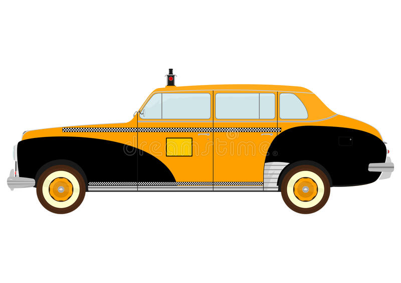Vintage yellow cab. Silhouette of vintage yellow cab on a white background. Vector royalty free illustration