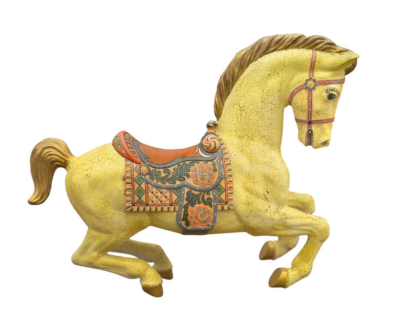 Vintage yellow carousel horse isolated. royalty free stock photography