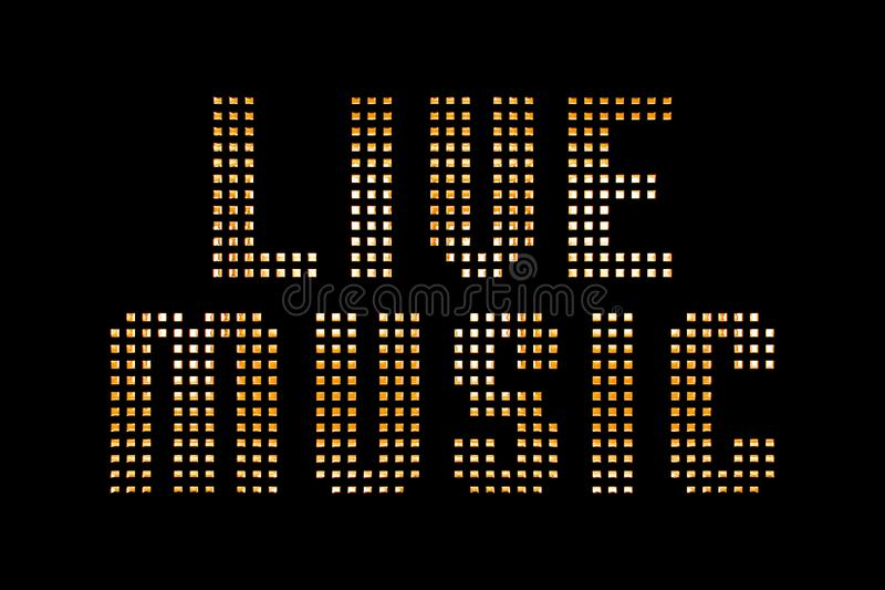 Vintage yellow gold metallic live music word text with light ref stock illustration