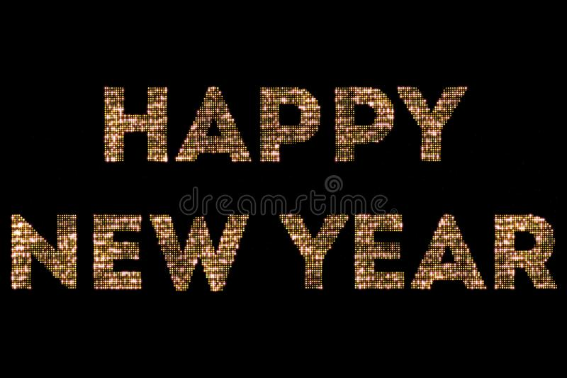 Vintage yellow gold sparkly glitter lights and glowing effect simulating leds happy new year 2018, 2019, 2020, 2021, 2022 word tex royalty free stock photo