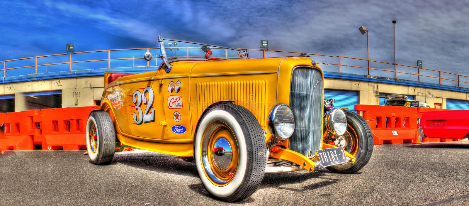 Vintage yellow hot rod. Custom designed yellow 1932 Ford Roadster converted to a hot rod on display at car show held at the Calder Park race track in Melbourne royalty free stock photo