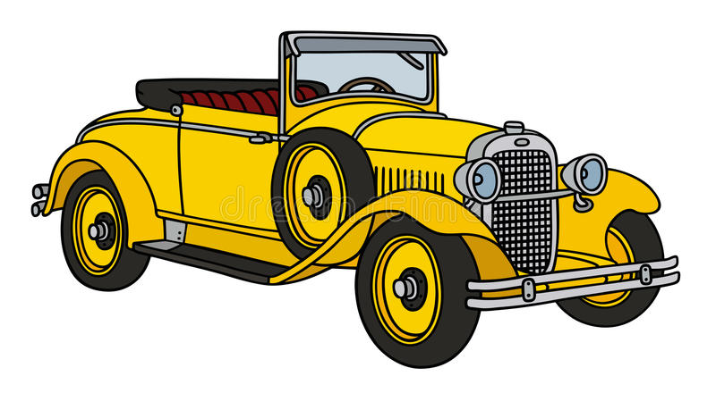 Vintage yellow roadster royalty free illustration