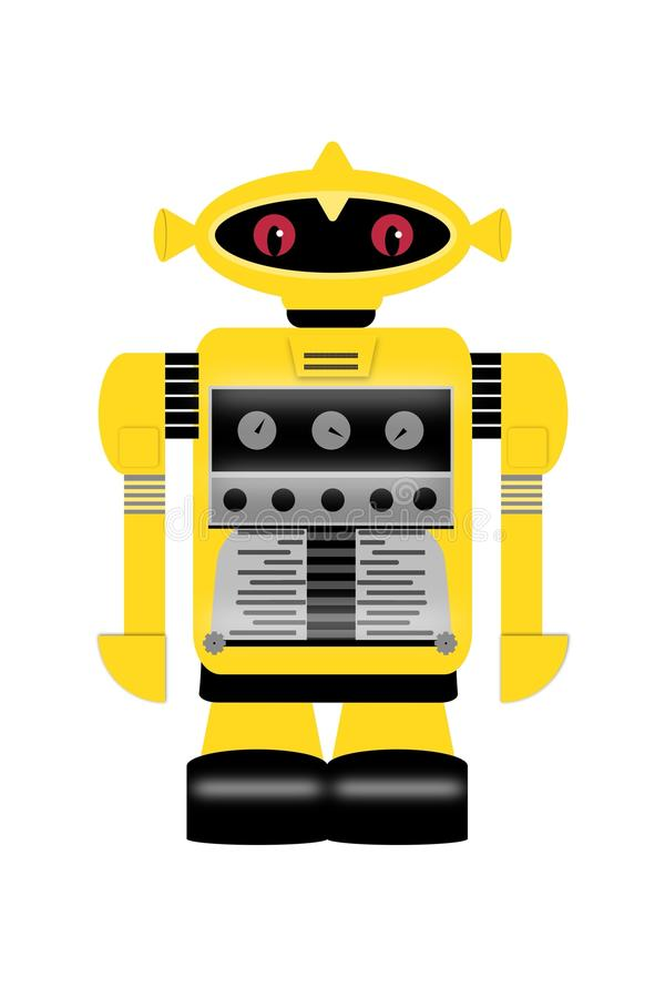 Vintage yellow robot retro royalty free stock photography