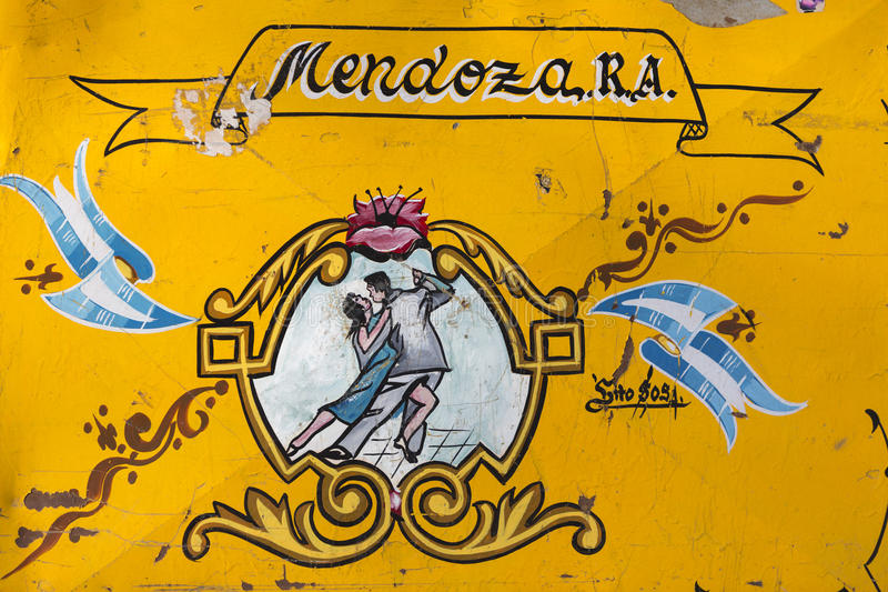 Vintage yellow tango sign in Mendoza, Argentina stock image