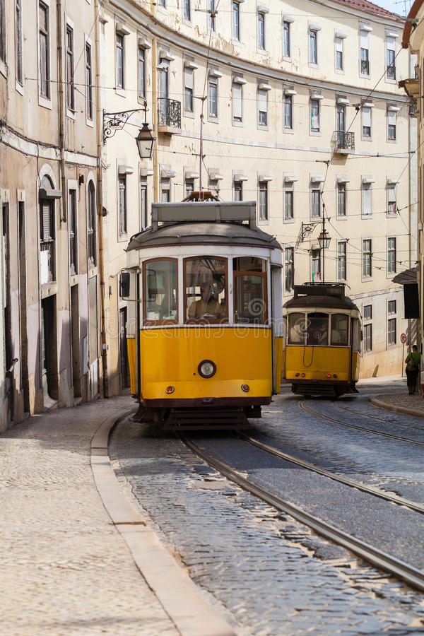 Download Vintage Yellow Tramway In Lisbon, Portugal Stock Photo - Image of road, alfama: 86606698
