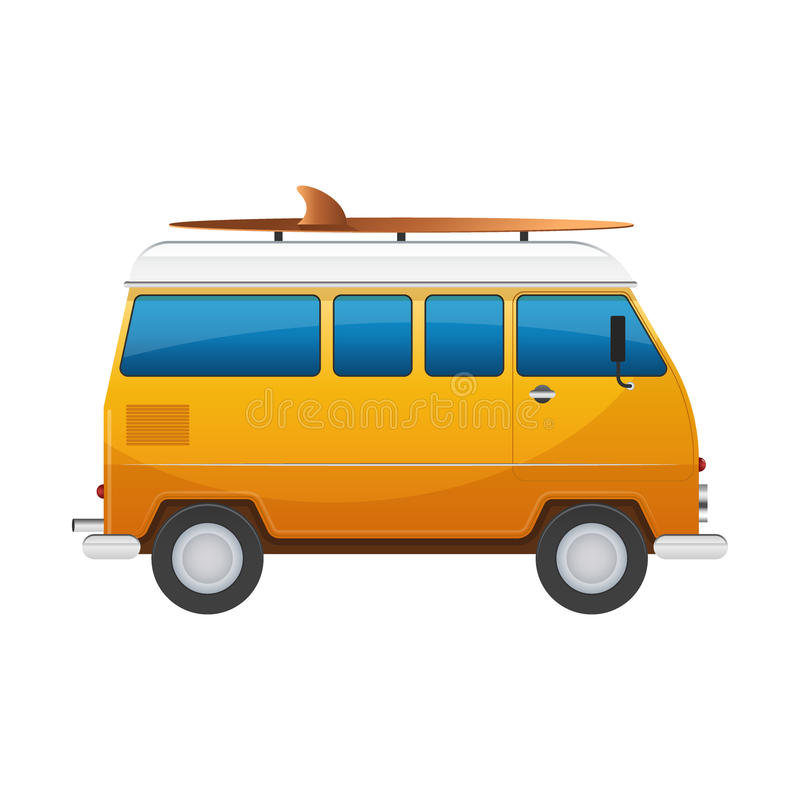 Vintage yellow travel minibus. Camper cartoon van. Tourist coach in flat design with surf board stock illustration
